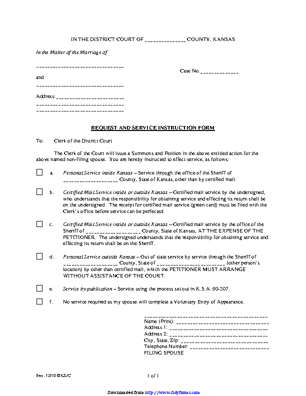 Kansas Request And Service Instruction Form