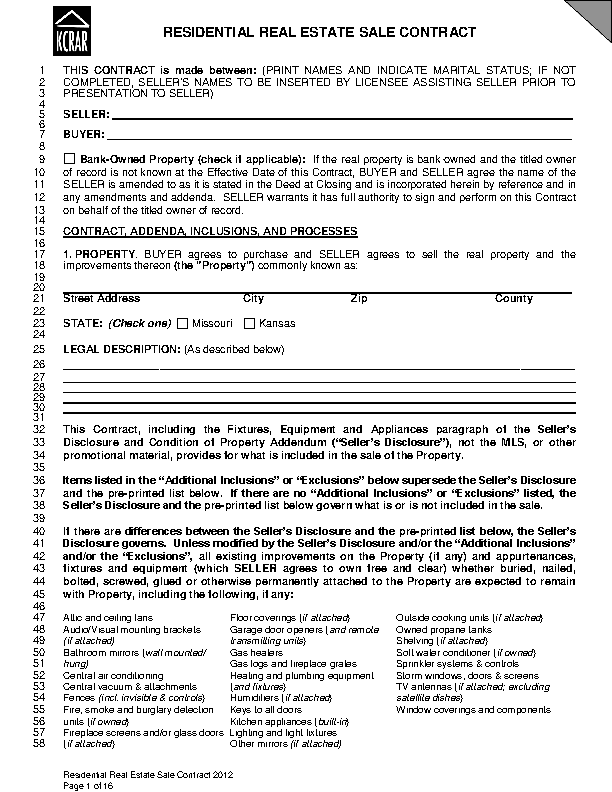 Kansas Residential Real Estate Sale Contract Form