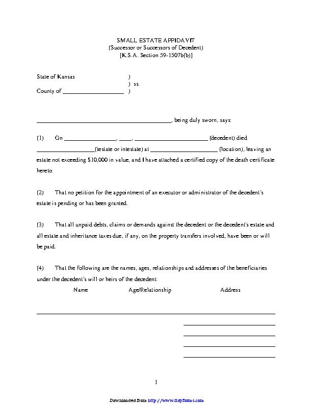 Kansas Small Estate Affidavit Form