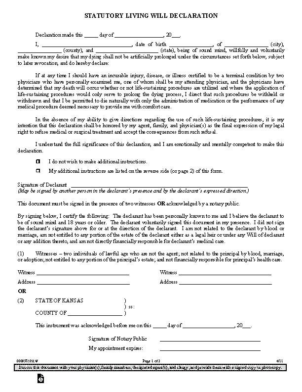 Kansas Statutory Living Will Declaration Form