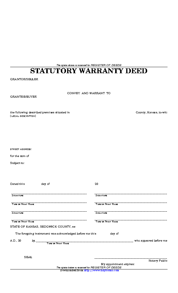 Kansas Statutory Warranty Deed Sedgwick County