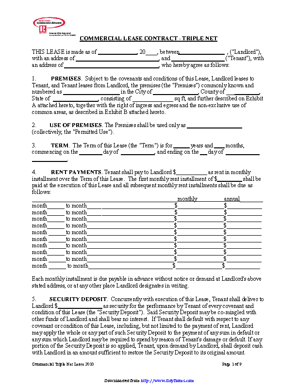 Kansas Triple Net Lease Agreement Form