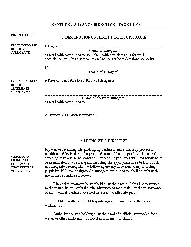 Kentucky Advance Directive