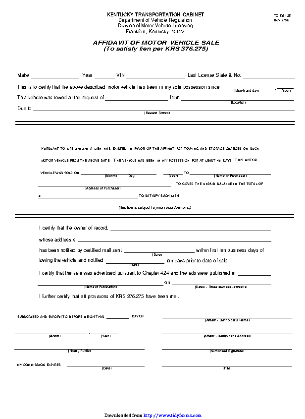 Kentucky Affidavit Of Motor Vehicle Sale Form