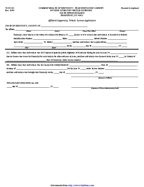 Kentucky Affidavit Supporting Vehicle License Application Form