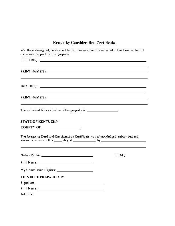 Kentucky Consideration Certificate Form