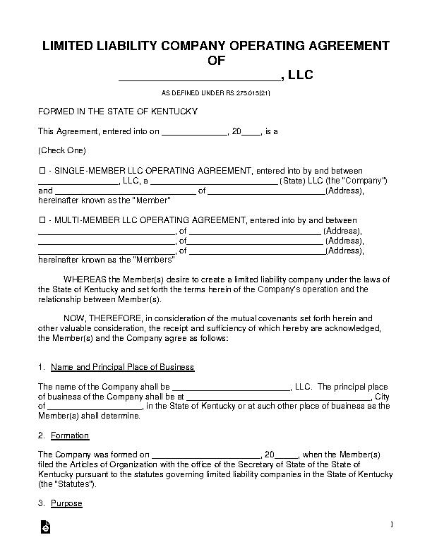 Kentucky Llc Operating Agreement Template