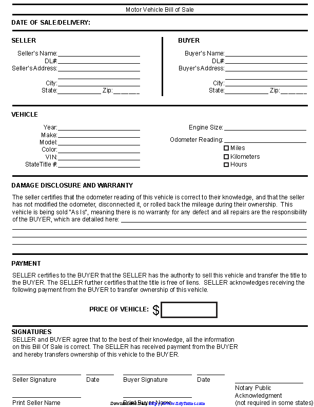 Kentucky Motor Vehicle Bill Of Sale Form
