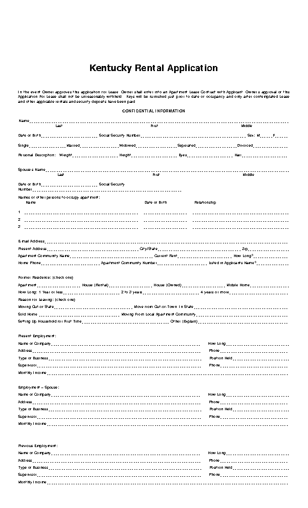 Kentucky Rental Application Form