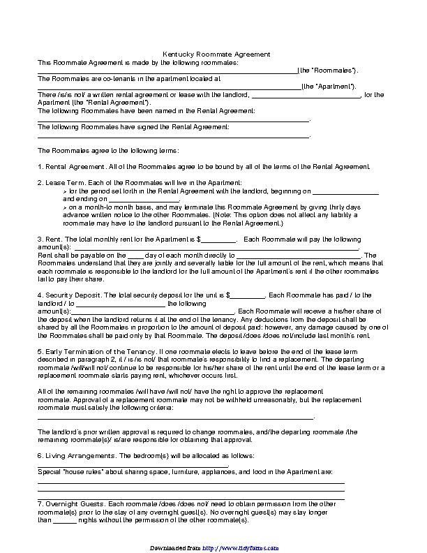 Kentucky Roommate Rental Agreement