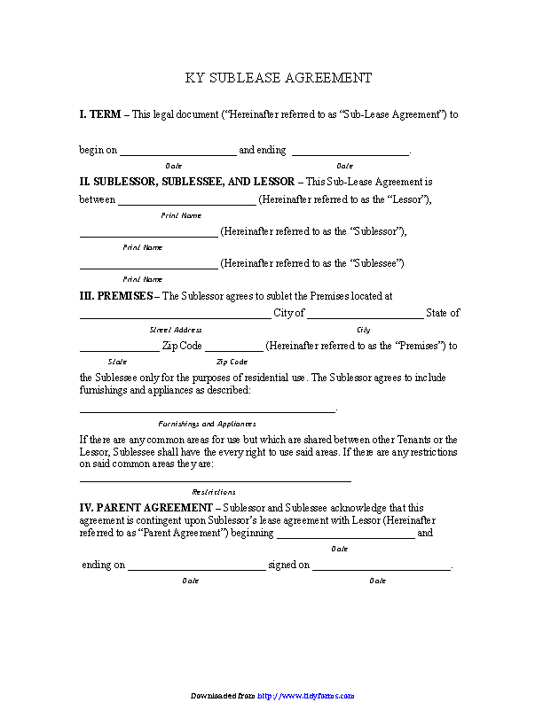 Kentucky Sublease Agreement Form