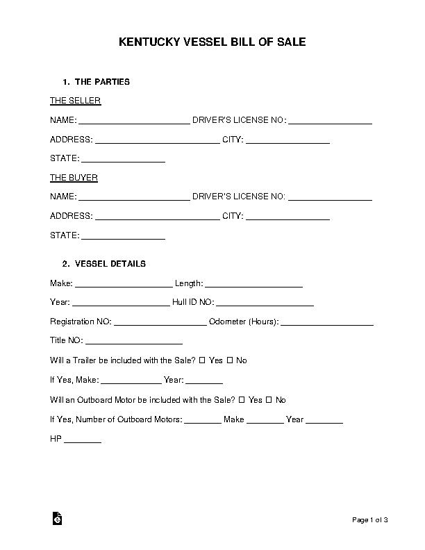Kentucky Vessel Bill Of Sale