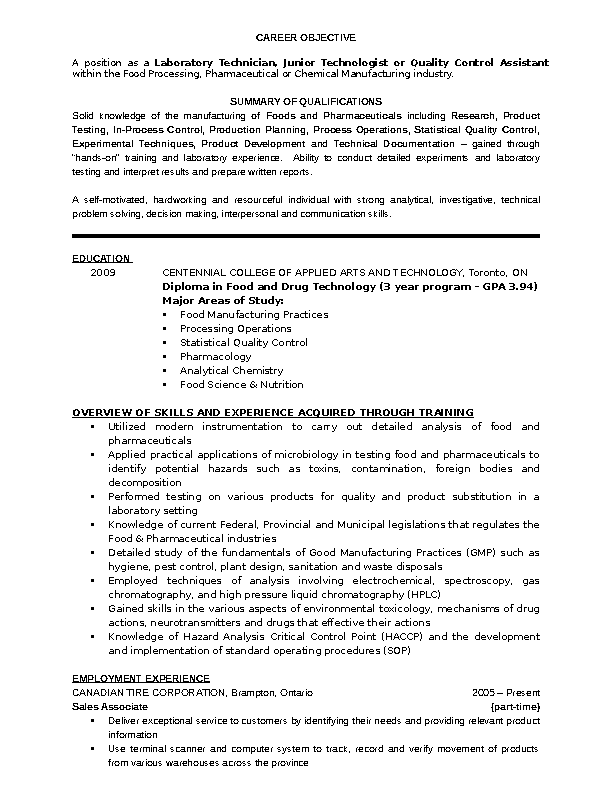 Lab Technician Resume Template Pdfsimpli
