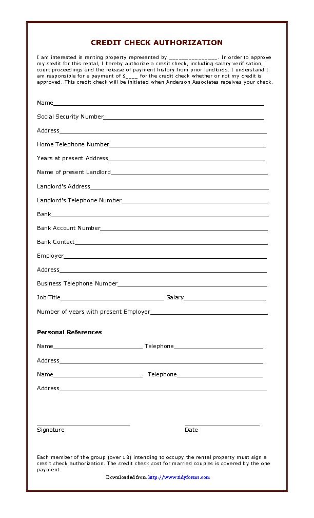 Landlord Tenant Credit Check Authorization