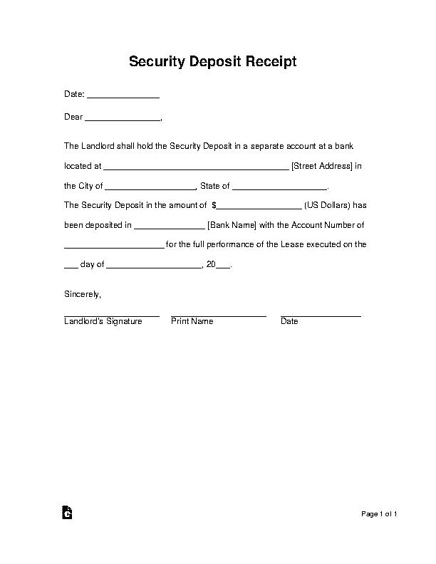 Landlords Security Deposit Receipt Form