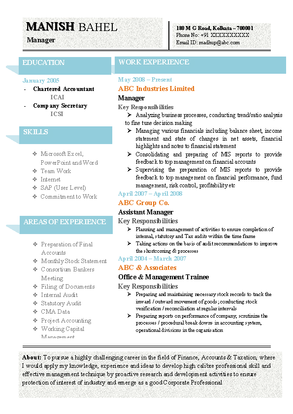 latest chartered accountant resume sample doc with