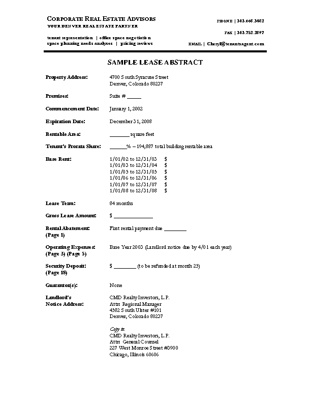 Lease Abstract Template Word