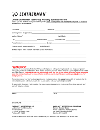 leatherman group warranty submission form