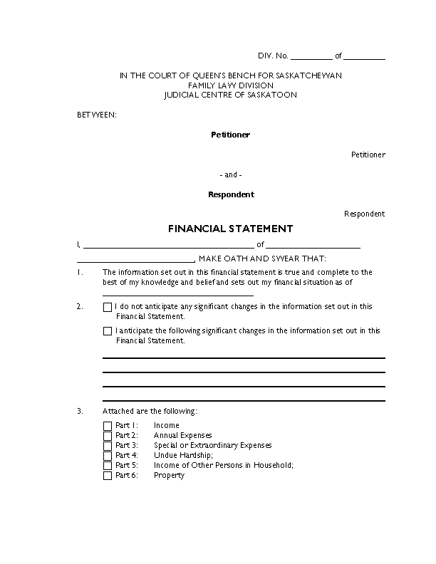 Legal Financial Statement Template