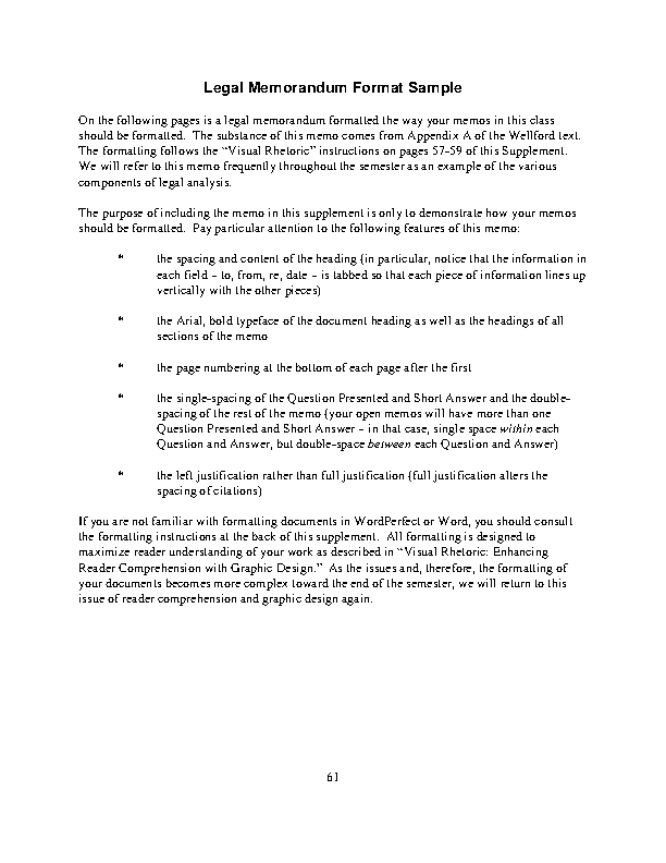 Legal Memorandum Format Template