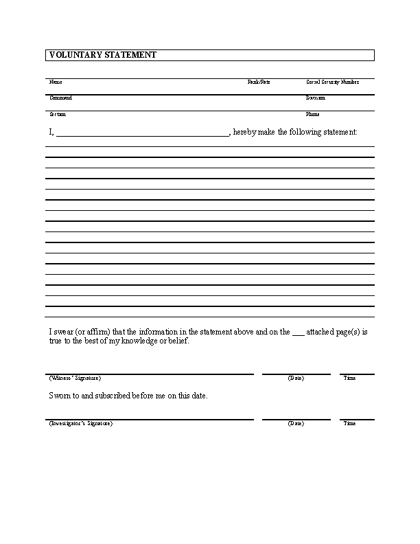 Legal Witness Statement Template