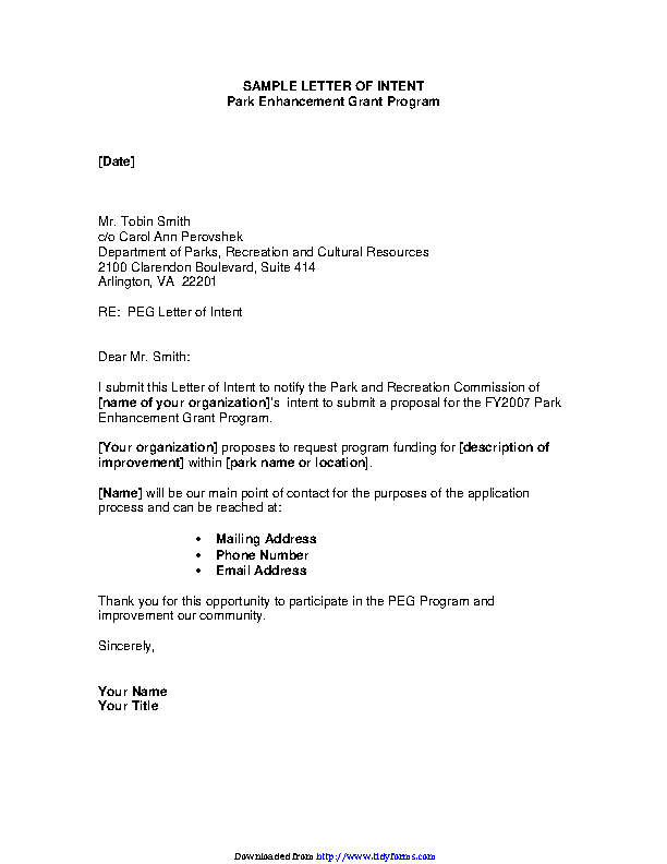 Sample Letter Of Intent For Grant Funding Pdf from devlegalsimpli.blob.core.windows.net