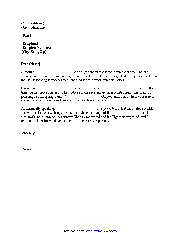 Letter Of Recommendation Transfer Student