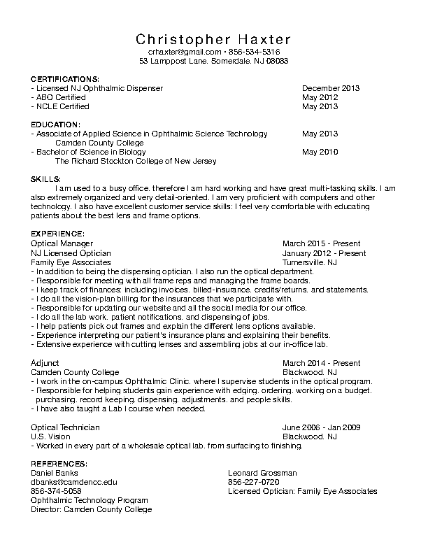 Licensed Optician Resume