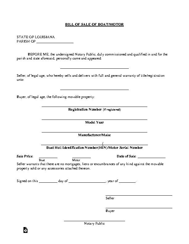 Louisiana Boat Bill Of Sale Form