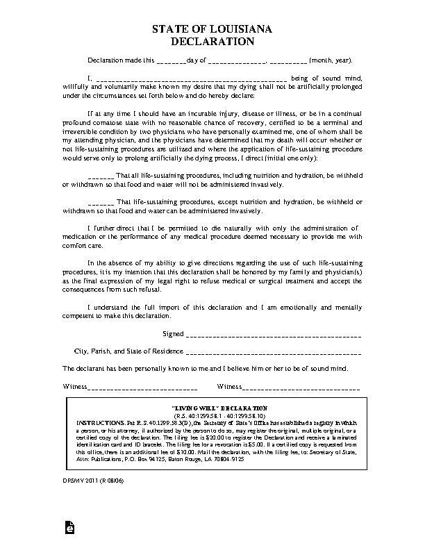 Louisiana Living Will Declaration Form