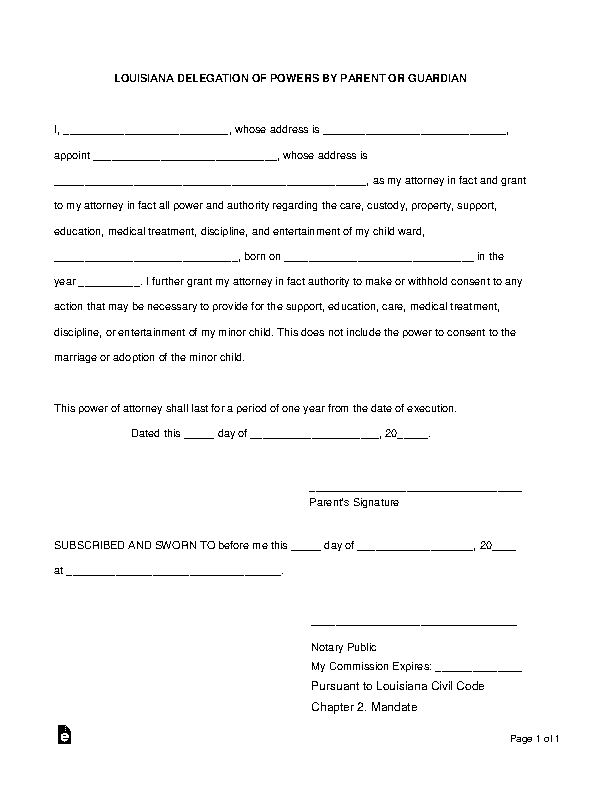 Louisiana Minor Children Power Of Attorney Form 1