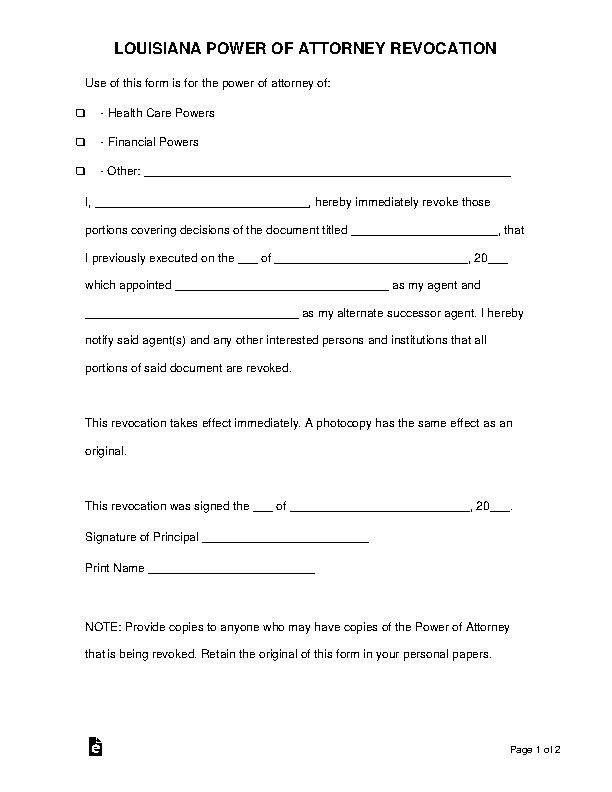 Louisiana Power Of Attorney Revocation Form