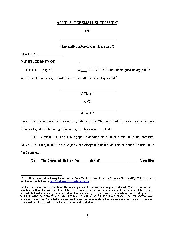 Louisiana Small Estate Affidavit