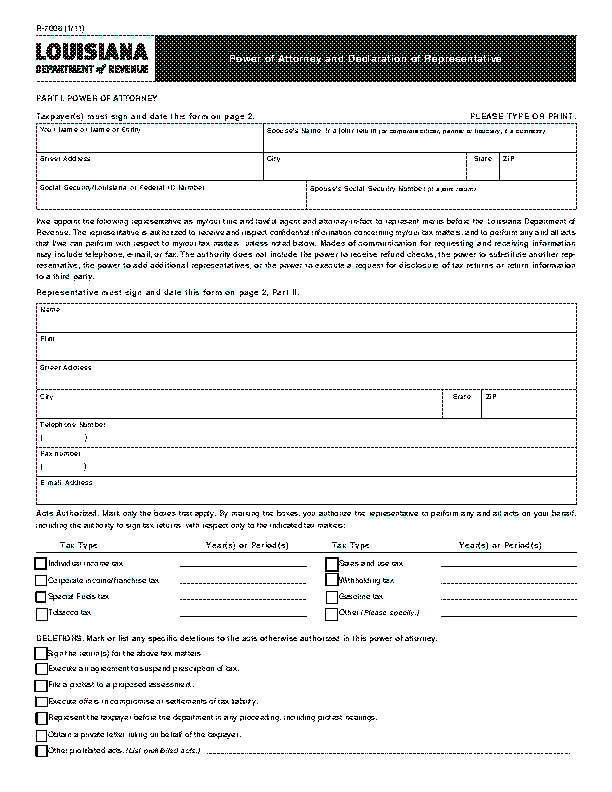 Louisiana Tax Power Of Attorney Form R7006