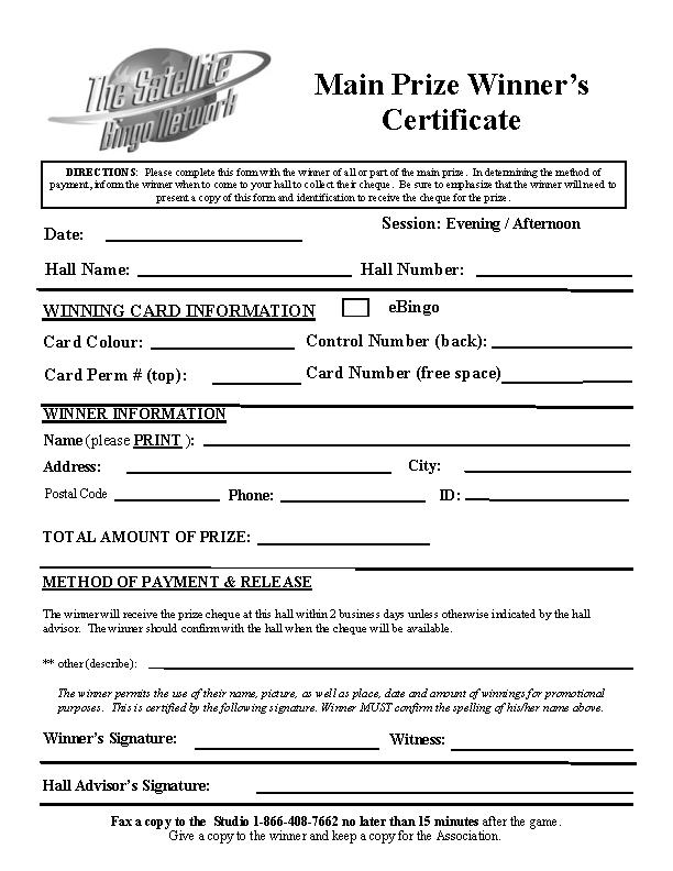 Main Prize Winner Certificate Template Pdfsimpli