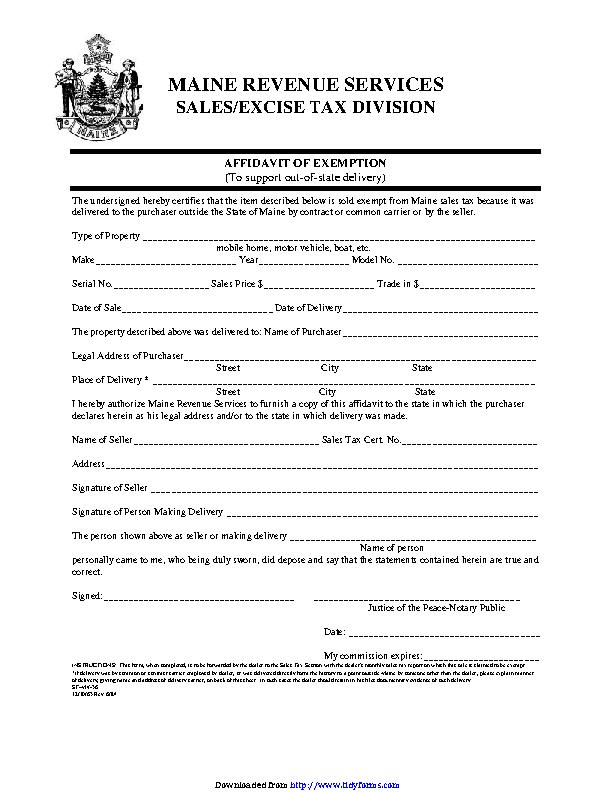 Maine Affidavit Of Exemption Form