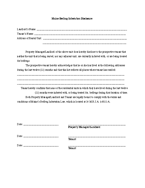 Maine Bedbug Disclosure Form