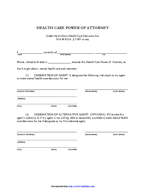 Maine Health Care Of Attorney Form 1