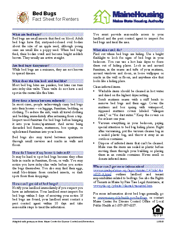 Maine Housing Fact Sheet Bed Bugs