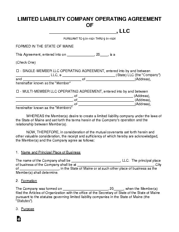 Maine Llc Operating Agreement Template