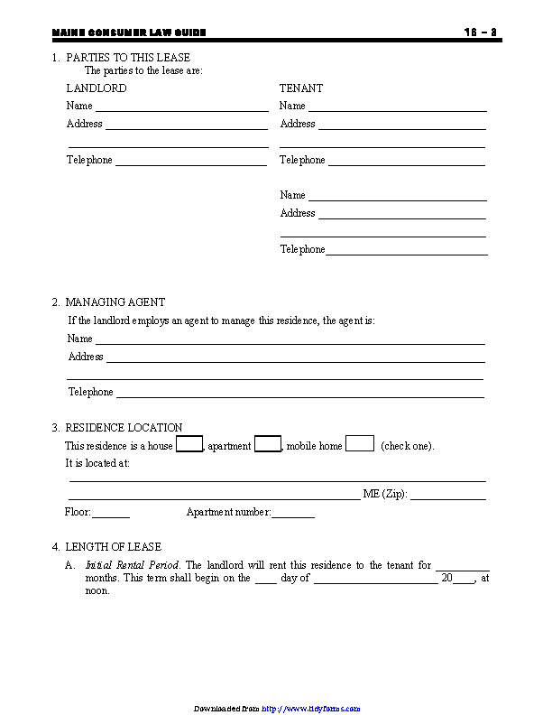 Maine Residential Lease Agreement Form Pdfsimpli
