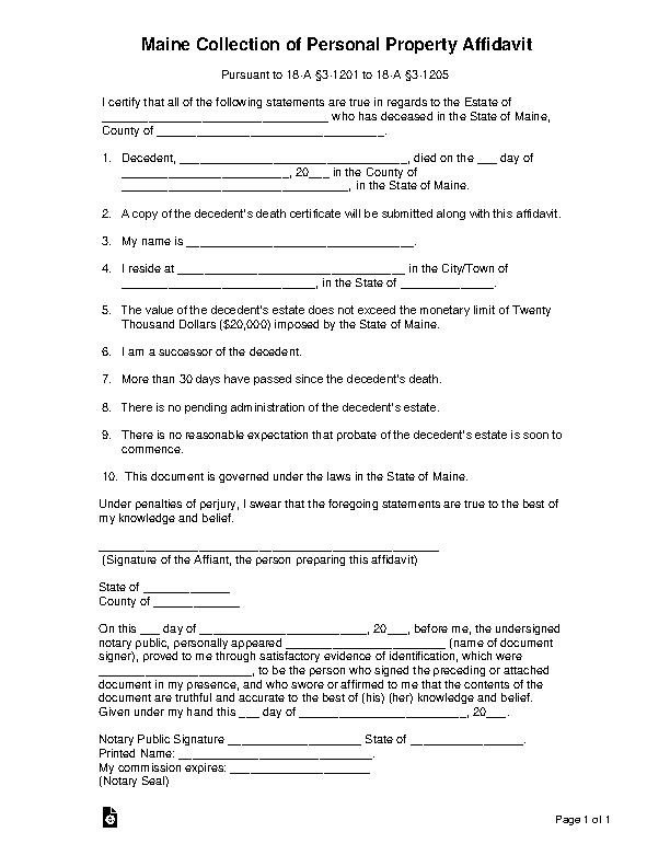 Maine Small Estate Affidavit Form