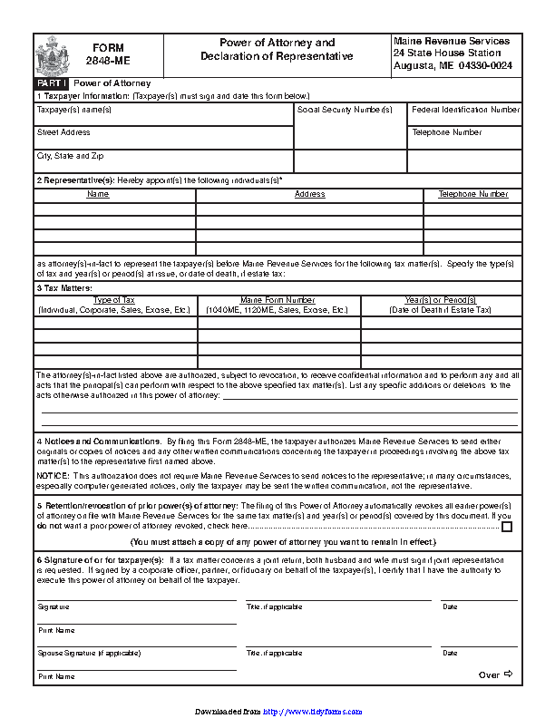 Maine Tax Of Attorney Form