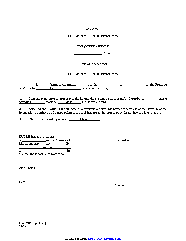 Manitoba Affidavit Of Initial Inventory Form