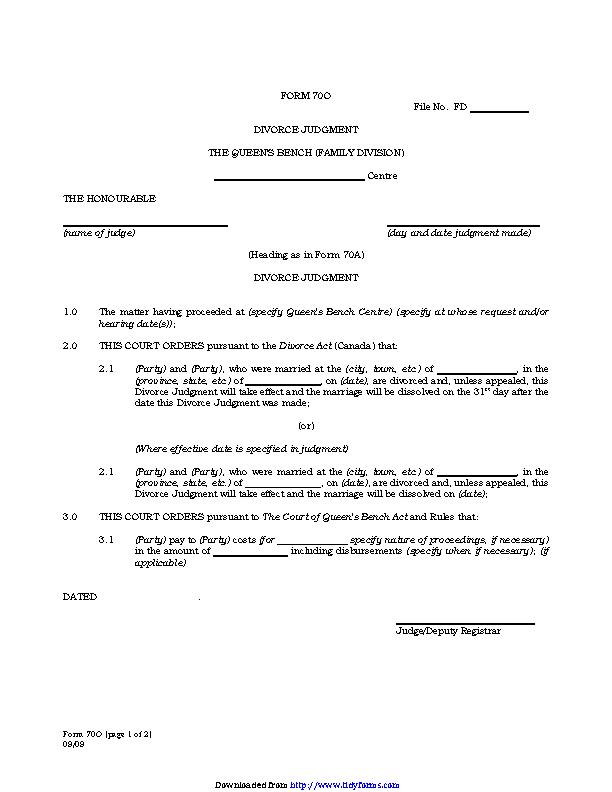 Manitoba Divorce Judgment Form