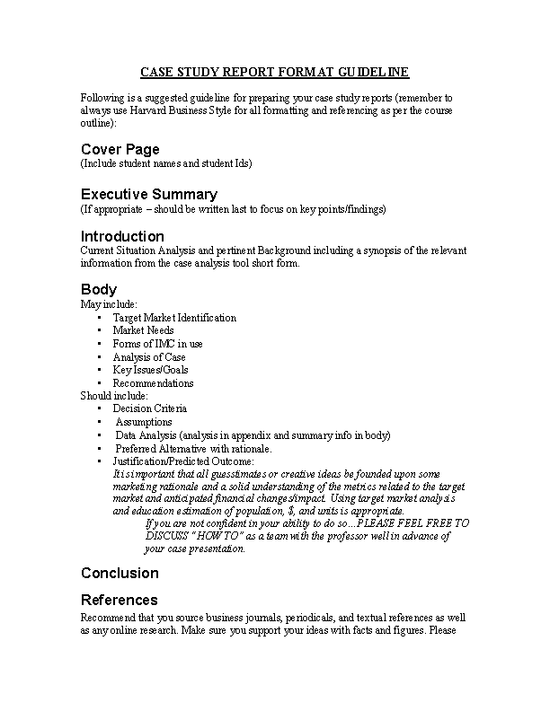 Marketing Case Study Report Format Guideline