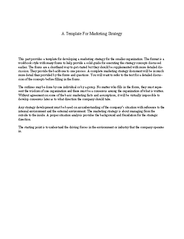Marketing Strategy Paper Template