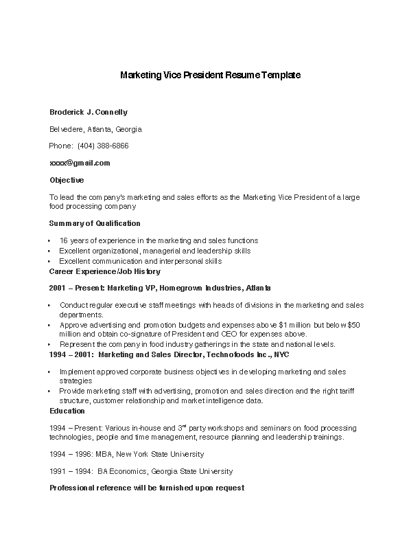 Fill Out Your Marketing Vice President Resume Template In Seconds With PDFSimpli