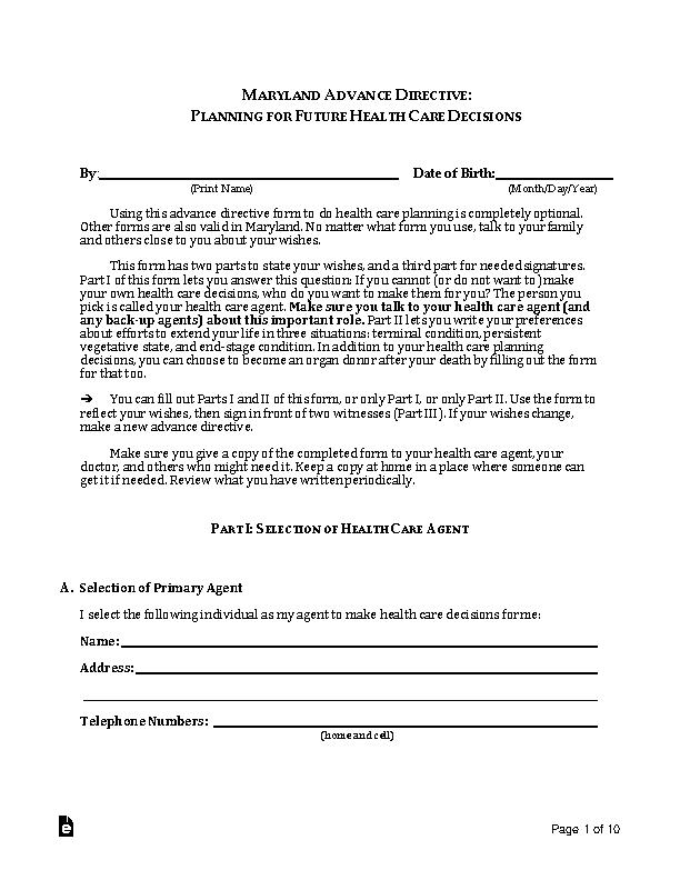 Maryland Advance Directive