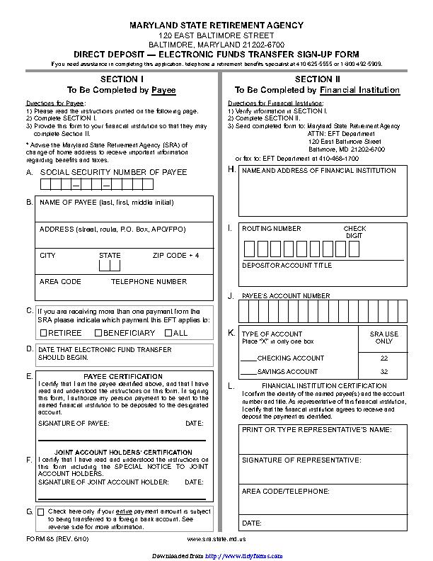 Maryland Direct Deposit Form 1 - PDFSimpli